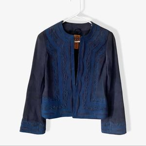 Tory Burch Leather Embroidered Jacket sz 2
